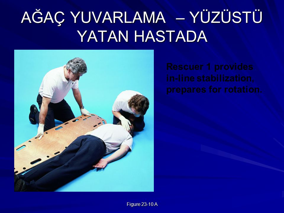 Figure 23-10 A AĞAÇ YUVARLAMA – YÜZÜSTÜ YATAN HASTADA Rescuer 1 provides in-line stabilization, prepares for rotation.