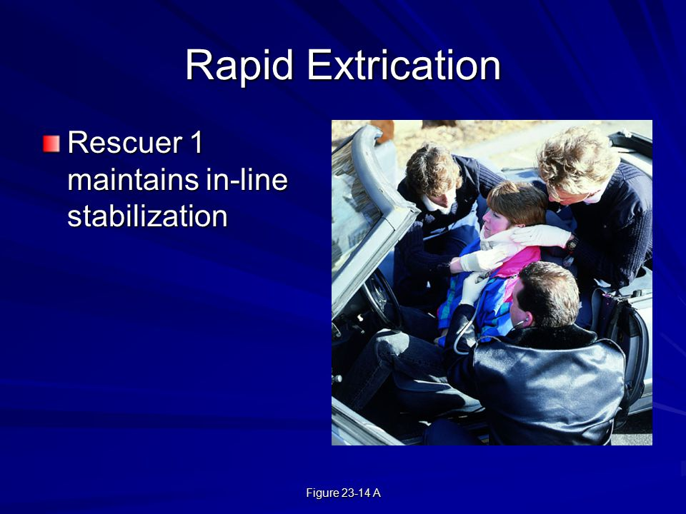 Figure 23-14 A Rapid Extrication Rescuer 1 maintains in-line stabilization