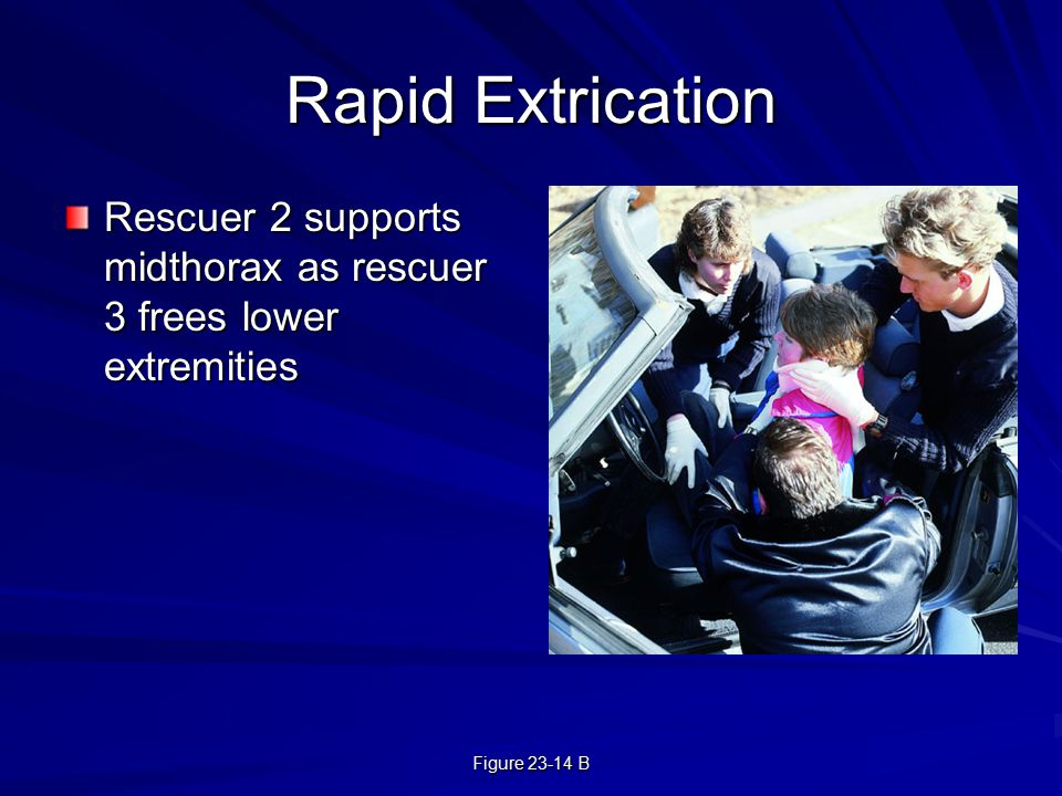Figure 23-14 B Rapid Extrication Rescuer 2 supports midthorax as rescuer 3 frees lower extremities