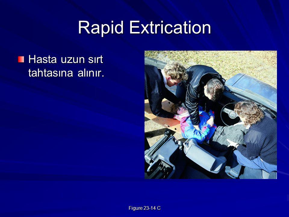 Figure 23-14 C Rapid Extrication Hasta uzun sırt tahtasına alınır.