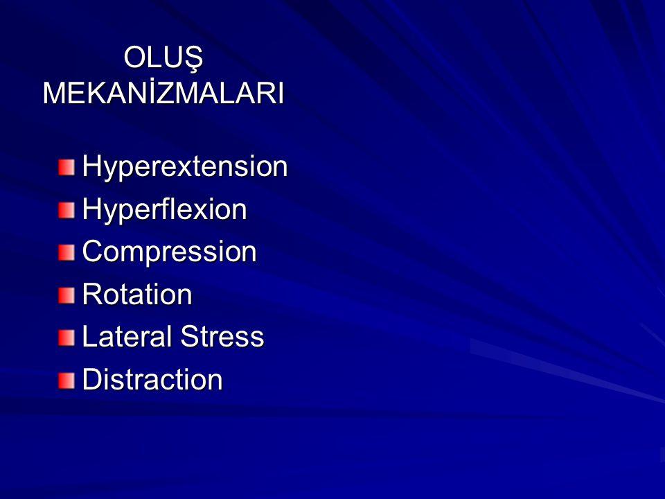 OLUŞ MEKANİZMALARI HyperextensionHyperflexionCompressionRotation Lateral Stress Distraction