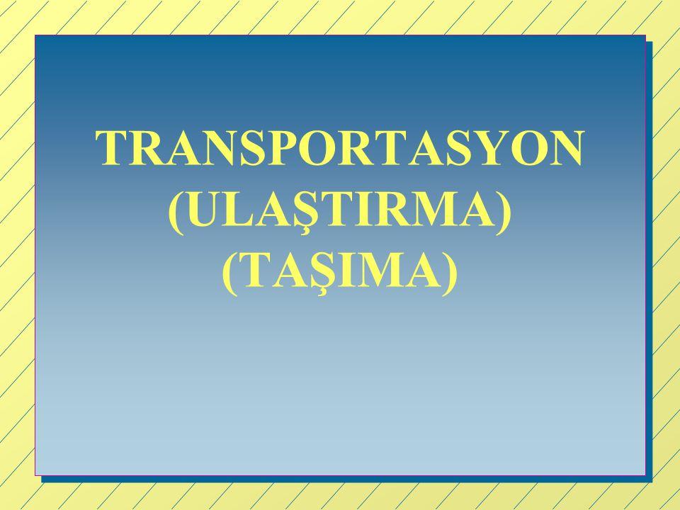 TRANSPORTASYON Malların birden fazla üretim (kaynak, S) noktalarından birden fazla tüketim yerlerine (varış, D) taşınmalarıyla ilgili problemler, Transportasyon (ulaştırma veya taşıma) problemi olarak isimlendirilir.