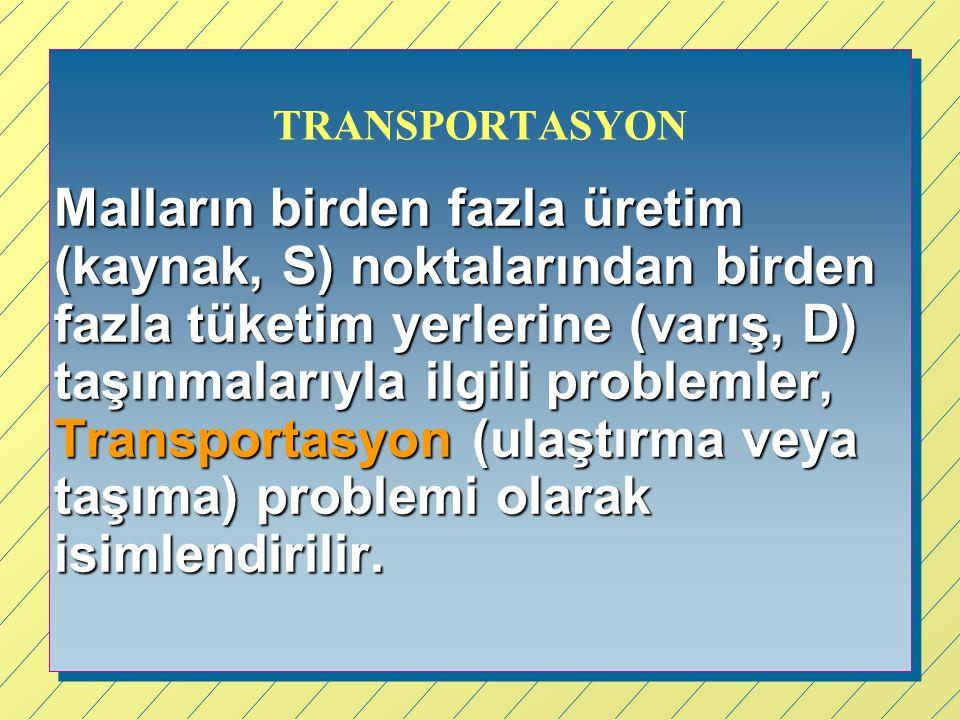 TRANSPORTASYON Malların birden fazla üretim (kaynak, S) noktalarından birden fazla tüketim yerlerine (varış, D) taşınmalarıyla ilgili problemler, Tran