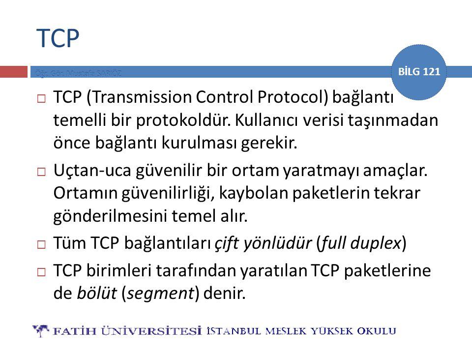 BİLG 121 TCP Kaynak portu Kaynak portu (16 bit)Hedef portu (16 bit) Sıra numarası Sıra numarası (32 bit) Alındı bilgisi numarası Alındı bilgisi numarası (32 bit) Veri ofseti (4 bit) Ayrılmış (6 bit) Bayraklar (6 bit) Pencere Pencere (16 bit) ChecksumChecksum (Hata sınaması – 16 bit) Acil İşaretçiler (16 bit) Opsiyonlar – Değişkenler Veri