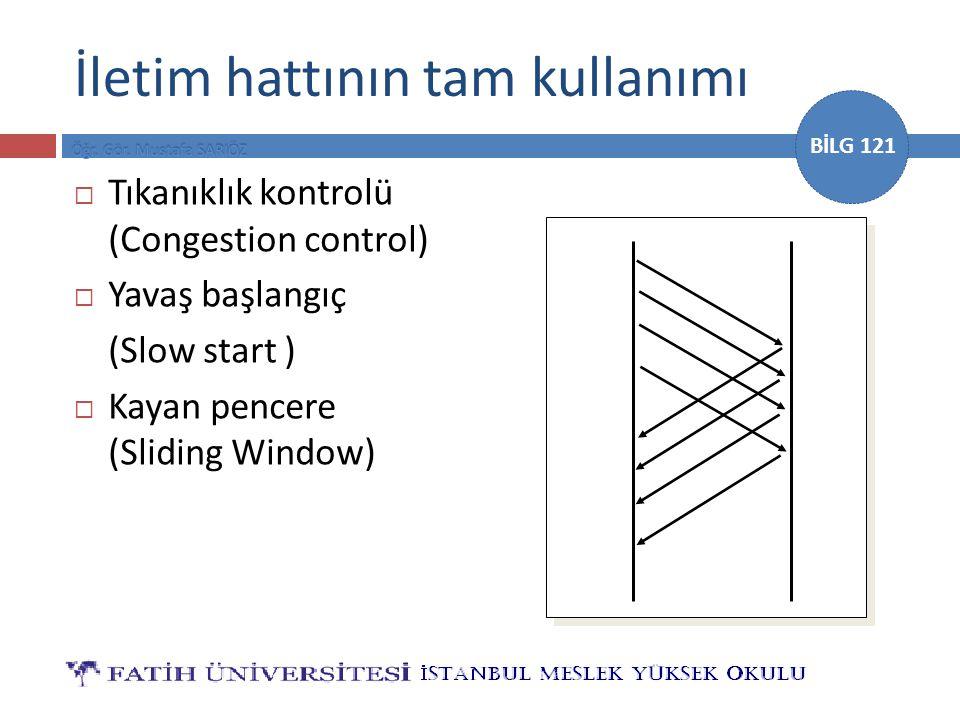 BİLG 121 İletim hattının tam kullanımı  Tıkanıklık kontrolü (Congestion control)  Yavaş başlangıç (Slow start )  Kayan pencere (Sliding Window)