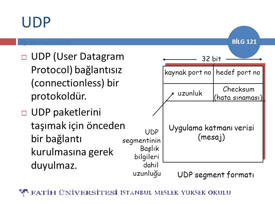 BİLG 121 UDP  UDP (User Datagram Protocol) bağlantısız (connectionless) bir protokoldür.  UDP paketlerini taşımak için önceden bir bağlantı kurulmas