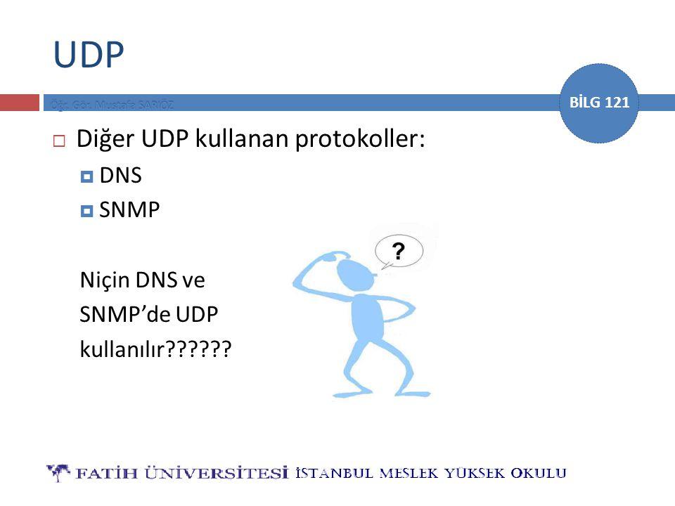 BİLG 121 UDP  Diğer UDP kullanan protokoller:  DNS  SNMP Niçin DNS ve SNMP'de UDP kullanılır??????