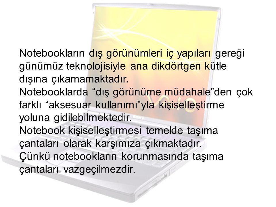 Notebookların dış görünümleri iç yapıları gereği günümüz teknolojisiyle ana dikdörtgen kütle dışına çıkamamaktadır.