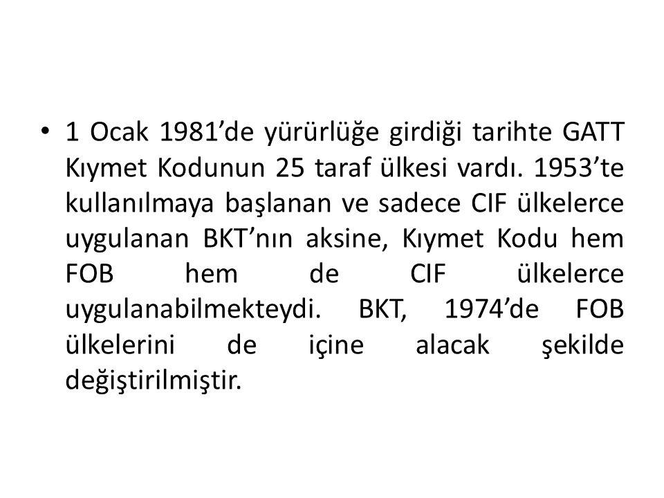 1 Ocak 1981'de yürürlüğe girdiği tarihte GATT Kıymet Kodunun 25 taraf ülkesi vardı. 1953'te kullanılmaya başlanan ve sadece CIF ülkelerce uygulanan BK