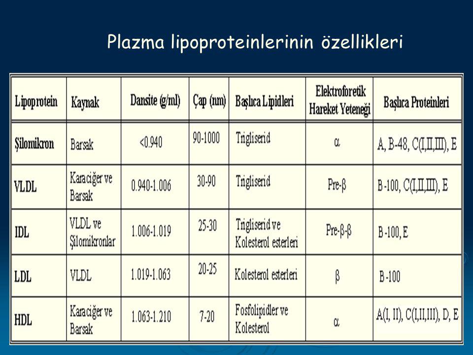 6 Plazma lipoproteinlerinin özellikleri