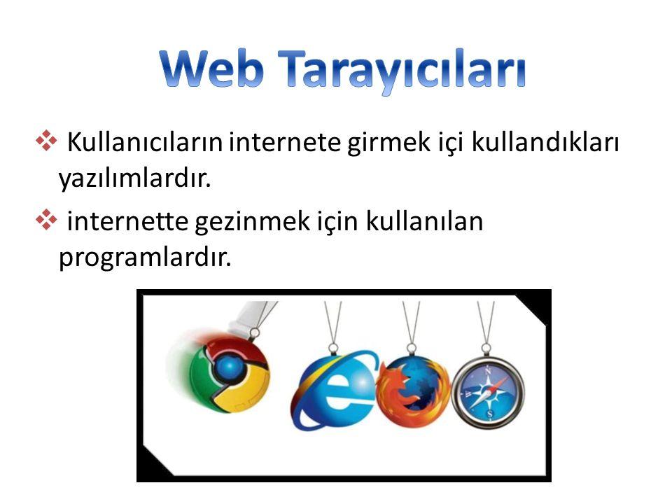  Kullanıcıların internete girmek içi kullandıkları yazılımlardır.