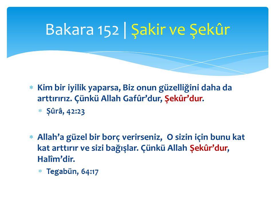  Kim bir iyilik yaparsa, Biz onun güzelliğini daha da arttırırız. Çünkü Allah Gafûr'dur, Şekûr'dur.  Şûrâ, 42:23  Allah'a güzel bir borç verirseniz