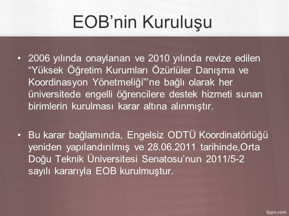 EOB'nin Kuruluşu 2006 yılında onaylanan ve 2010 yılında revize edilen Yüksek Öğretim Kurumları Özürlüler Danışma ve Koordinasyon Yönetmeliği 'ne bağlı olarak her üniversitede engelli öğrencilere destek hizmeti sunan birimlerin kurulması karar altına alınmıştır.