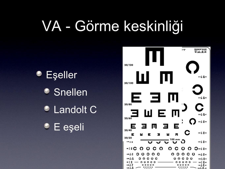 VA - Görme keskinliği Eşeller Snellen Landolt C E eşeli
