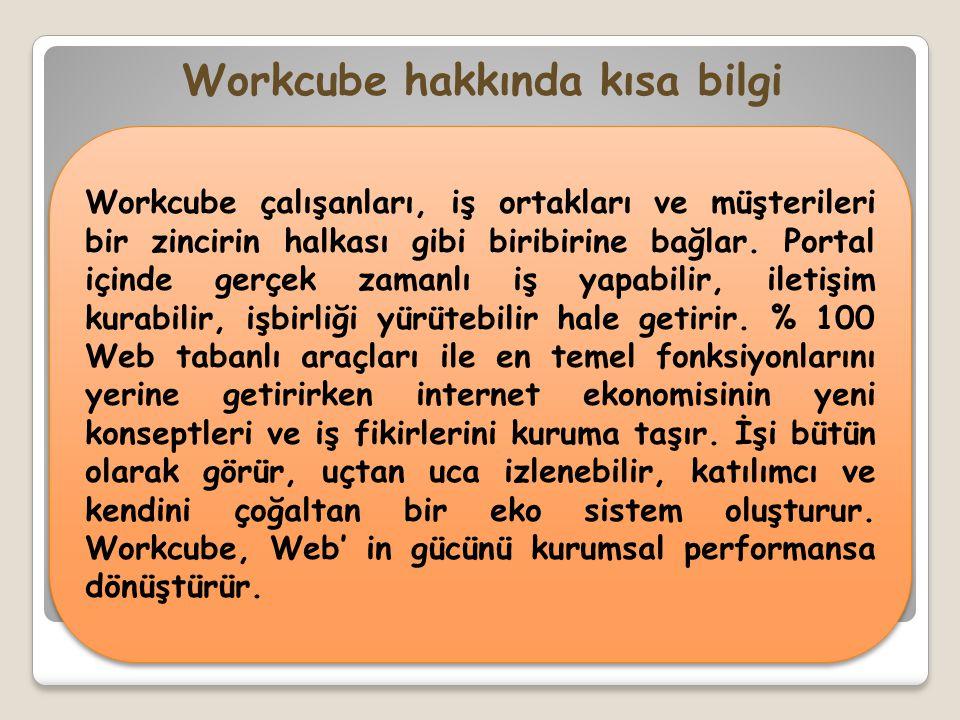 Workcube çalışanları, iş ortakları ve müşterileri bir zincirin halkası gibi biribirine bağlar. Portal içinde gerçek zamanlı iş yapabilir, iletişim kur