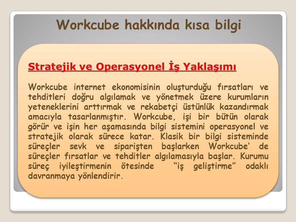 Stratejik ve Operasyonel İş Yaklaşımı Workcube internet ekonomisinin oluşturduğu fırsatları ve tehditleri doğru algılamak ve yönetmek üzere kurumların