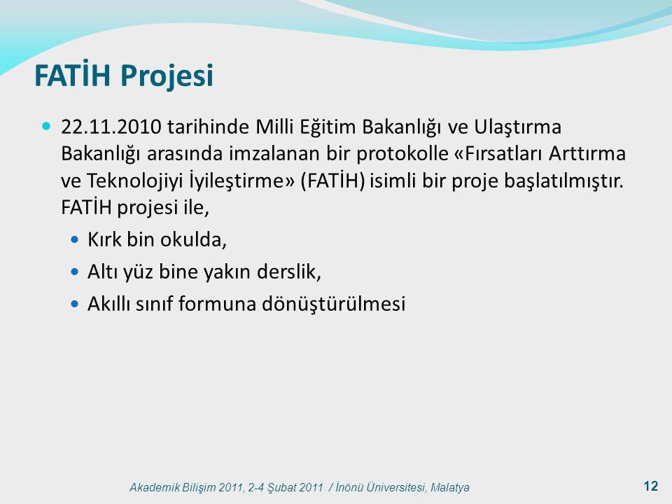 Akademik Bilişim 2011, 2-4 Şubat 2011 / İnönü Üniversitesi, Malatya 12 FATİH Projesi 22.11.2010 tarihinde Milli Eğitim Bakanlığı ve Ulaştırma Bakanlığ