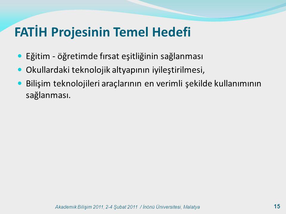 Akademik Bilişim 2011, 2-4 Şubat 2011 / İnönü Üniversitesi, Malatya 15 FATİH Projesinin Temel Hedefi Eğitim - öğretimde fırsat eşitliğinin sağlanması