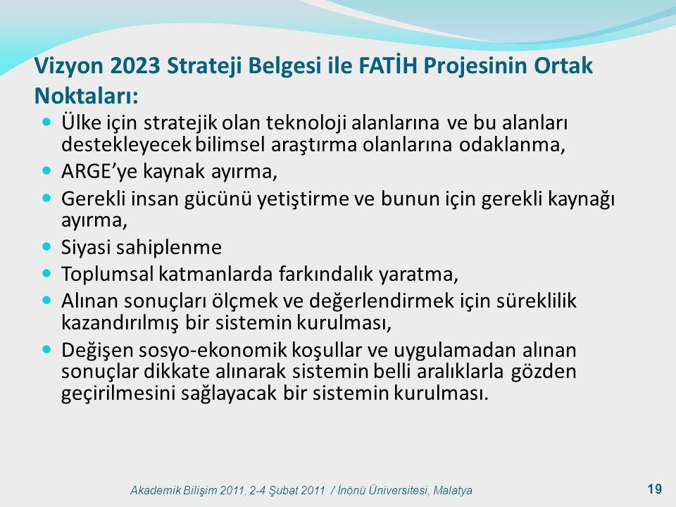 Akademik Bilişim 2011, 2-4 Şubat 2011 / İnönü Üniversitesi, Malatya 19 Vizyon 2023 Strateji Belgesi ile FATİH Projesinin Ortak Noktaları: Ülke için st