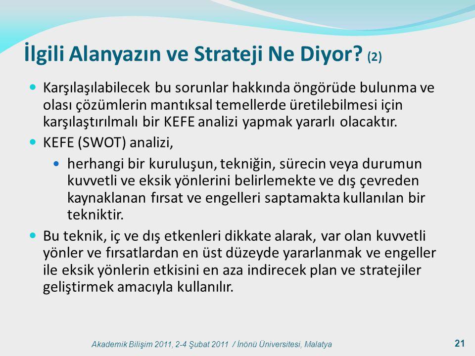 Akademik Bilişim 2011, 2-4 Şubat 2011 / İnönü Üniversitesi, Malatya 21 İlgili Alanyazın ve Strateji Ne Diyor? (2) Karşılaşılabilecek bu sorunlar hakkı