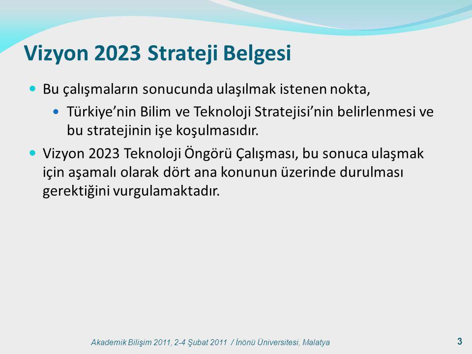 Akademik Bilişim 2011, 2-4 Şubat 2011 / İnönü Üniversitesi, Malatya 3 Vizyon 2023 Strateji Belgesi Bu çalışmaların sonucunda ulaşılmak istenen nokta,