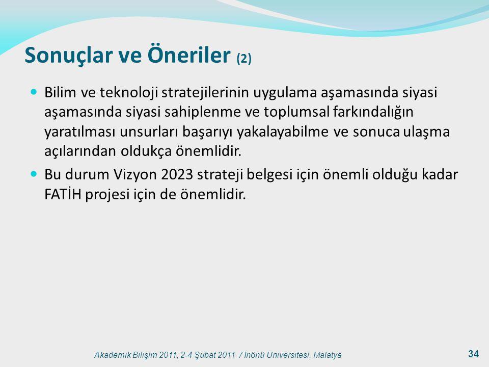 Akademik Bilişim 2011, 2-4 Şubat 2011 / İnönü Üniversitesi, Malatya 34 Sonuçlar ve Öneriler (2) Bilim ve teknoloji stratejilerinin uygulama aşamasında