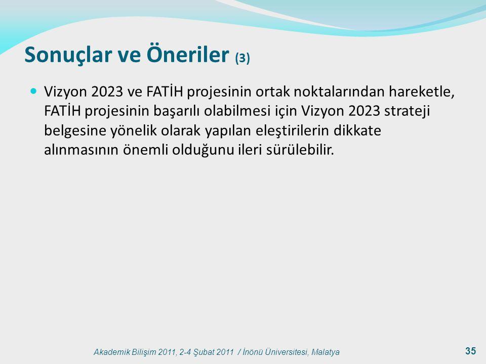 Akademik Bilişim 2011, 2-4 Şubat 2011 / İnönü Üniversitesi, Malatya 35 Sonuçlar ve Öneriler (3) Vizyon 2023 ve FATİH projesinin ortak noktalarından ha