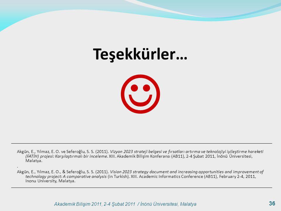 Akademik Bilişim 2011, 2-4 Şubat 2011 / İnönü Üniversitesi, Malatya 36 Teşekkürler… Akgün, E., Yılmaz, E. O. ve Seferoğlu, S. S. (2011). Vizyon 2023 s