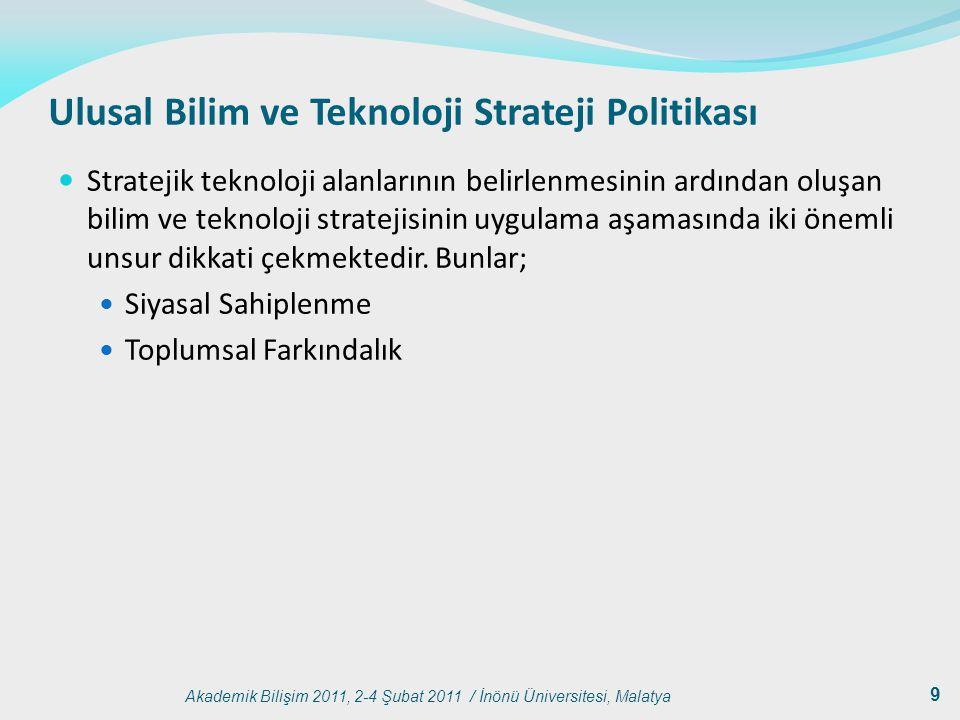 Akademik Bilişim 2011, 2-4 Şubat 2011 / İnönü Üniversitesi, Malatya 9 Ulusal Bilim ve Teknoloji Strateji Politikası Stratejik teknoloji alanlarının be
