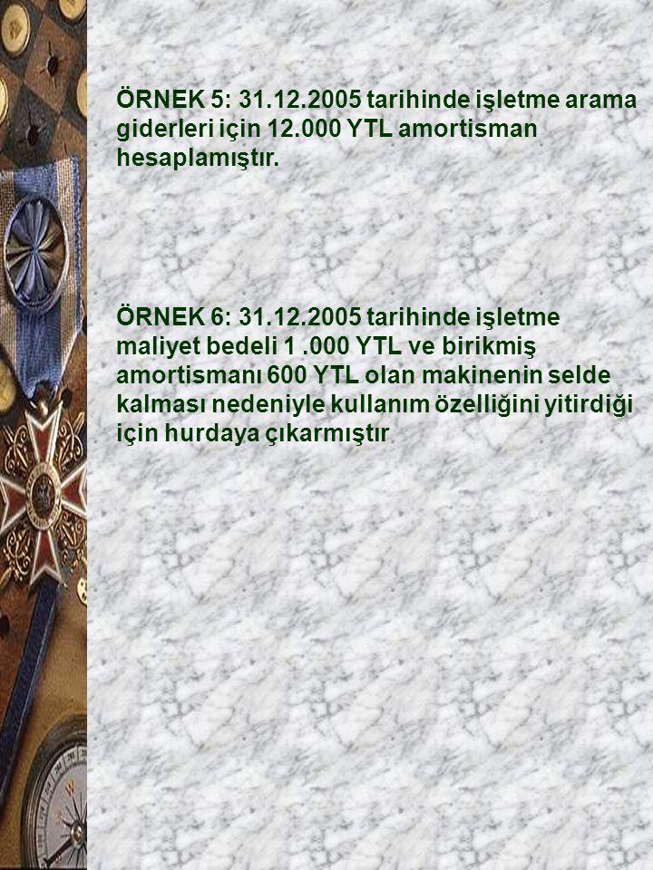 ÖRNEK 5: 31.12.2005 tarihinde işletme arama giderleri için 12.000 YTL amortisman hesaplamıştır. ÖRNEK 6: 31.12.2005 tarihinde işletme maliyet bedeli 1