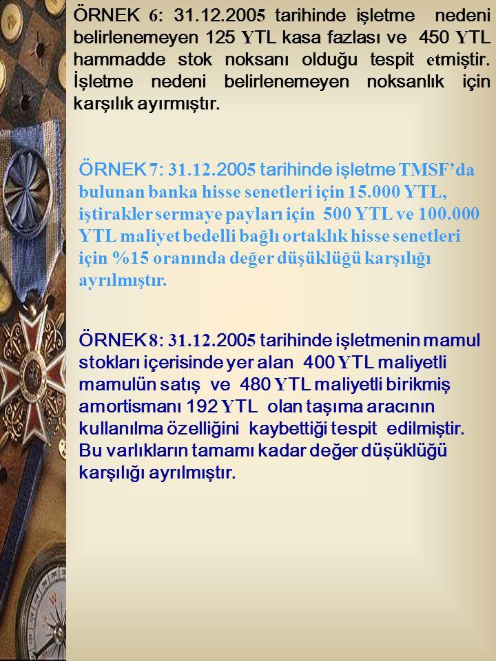 ÖRNEK 6 : 31.12.200 5 tarihinde işletme nedeni belirlenemeyen 125 Y TL kasa fazlası ve 450 Y TL hammadde stok noksanı olduğu tespit et miştir. İşletme