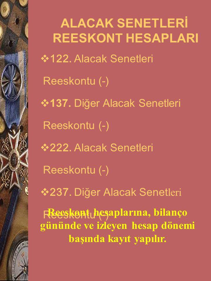 ALACAK SENETLERİ REESKONT HESAPLARI  122. Alacak Senetleri Reeskontu (-)  137. Diğer Alacak Senetleri Reeskontu (-)  222. Alacak Senetleri Reeskont