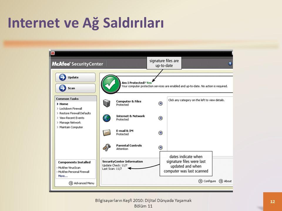 Internet ve Ağ Saldırıları Bilgisayarların Keşfi 2010: Dijital Dünyada Yaşamak Bölüm 11 12