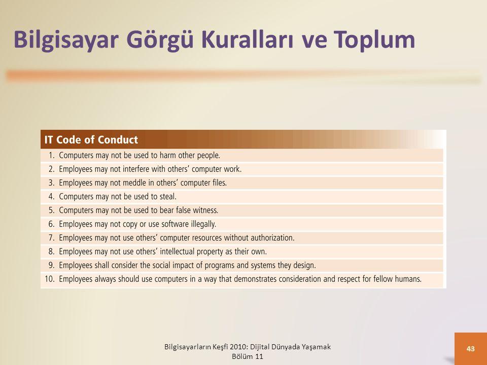 Bilgisayar Görgü Kuralları ve Toplum Bilgisayarların Keşfi 2010: Dijital Dünyada Yaşamak Bölüm 11 43