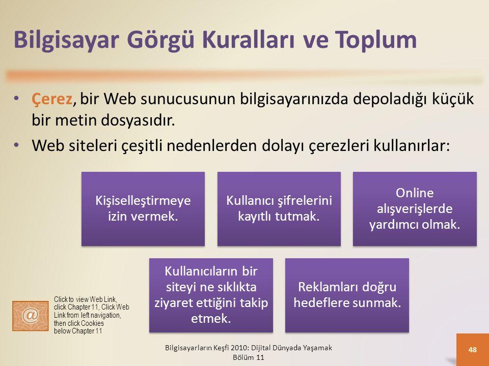 Bilgisayar Görgü Kuralları ve Toplum Çerez, bir Web sunucusunun bilgisayarınızda depoladığı küçük bir metin dosyasıdır. Web siteleri çeşitli nedenlerd