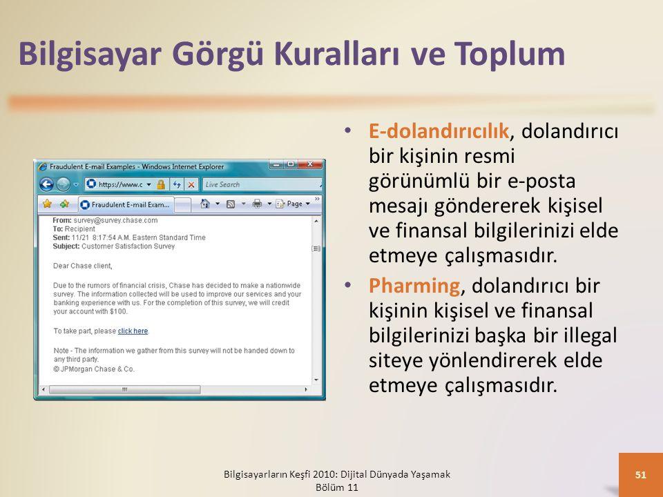 Bilgisayar Görgü Kuralları ve Toplum E-dolandırıcılık, dolandırıcı bir kişinin resmi görünümlü bir e-posta mesajı göndererek kişisel ve finansal bilgi