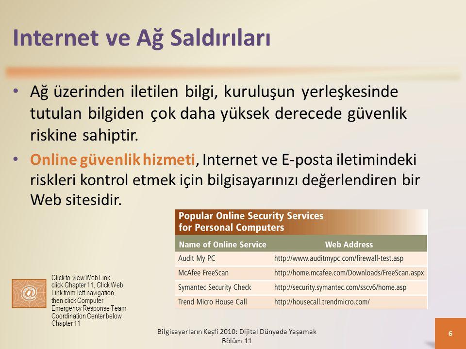 Internet ve Ağ Saldırıları Ağ üzerinden iletilen bilgi, kuruluşun yerleşkesinde tutulan bilgiden çok daha yüksek derecede güvenlik riskine sahiptir. O