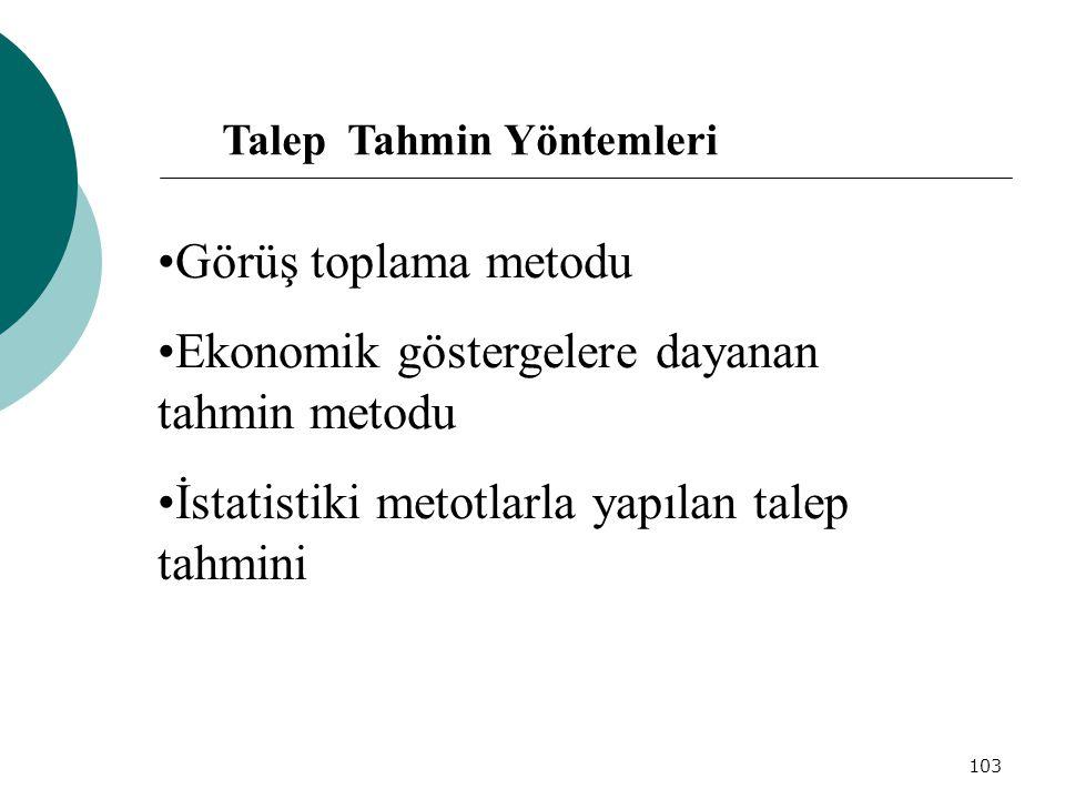 103 Görüş toplama metodu Ekonomik göstergelere dayanan tahmin metodu İstatistiki metotlarla yapılan talep tahmini Talep Tahmin Yöntemleri