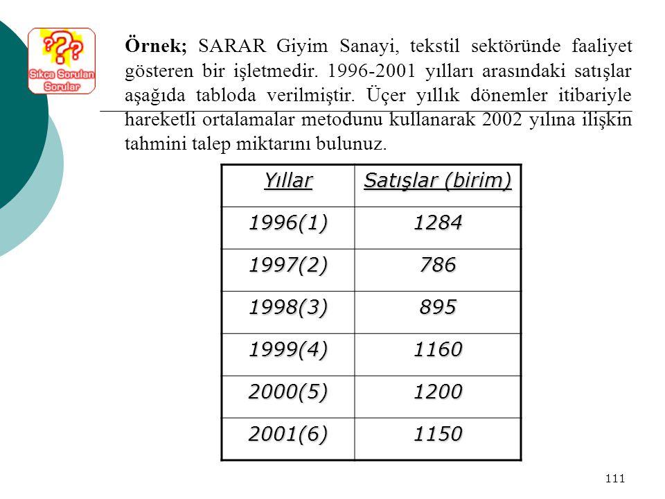111 Örnek; SARAR Giyim Sanayi, tekstil sektöründe faaliyet gösteren bir işletmedir. 1996-2001 yılları arasındaki satışlar aşağıda tabloda verilmiştir.