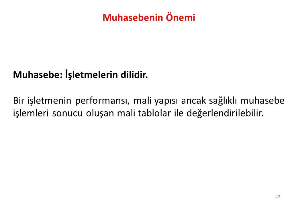 22 Muhasebenin Önemi Muhasebe: İşletmelerin dilidir. Bir işletmenin performansı, mali yapısı ancak sağlıklı muhasebe işlemleri sonucu oluşan mali tabl
