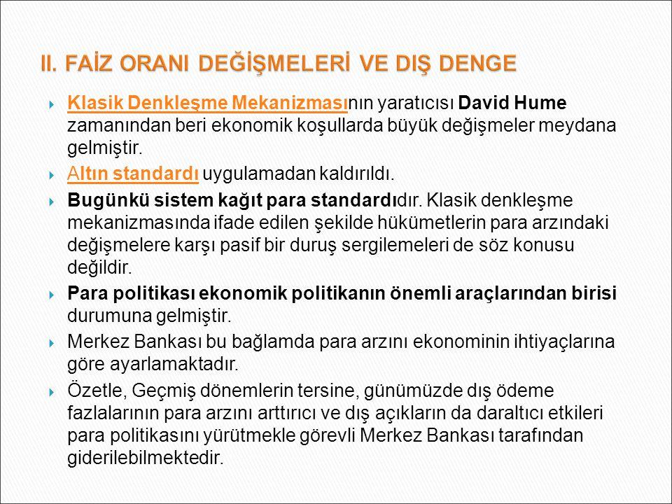  Klasik Denkleşme Mekanizmasının yaratıcısı David Hume zamanından beri ekonomik koşullarda büyük değişmeler meydana gelmiştir. Klasik Denkleşme Mekan