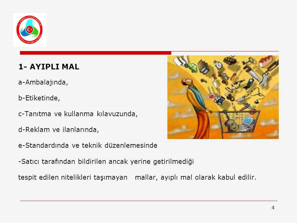 4 1- AYIPLI MAL a-Ambalajında, b-Etiketinde, c-Tanıtma ve kullanma kılavuzunda, d-Reklam ve ilanlarında, e-Standardında ve teknik düzenlemesinde -Satı