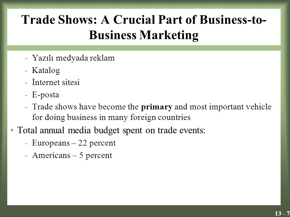 13 - 7 Trade Shows: A Crucial Part of Business-to- Business Marketing -Yazılı medyada reklam -Katalog -İnternet sitesi -E-posta -Trade shows have beco
