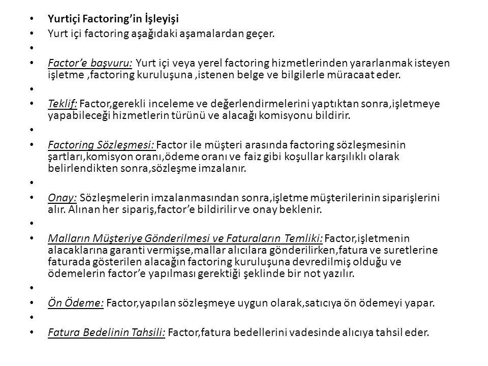 Yurtiçi Factoring'in İşleyişi Yurt içi factoring aşağıdaki aşamalardan geçer. Factor'e başvuru: Yurt içi veya yerel factoring hizmetlerinden yararlanm