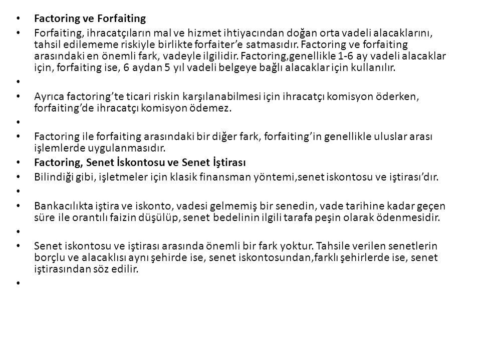 Factoring ve Forfaiting Forfaiting, ihracatçıların mal ve hizmet ihtiyacından doğan orta vadeli alacaklarını, tahsil edilememe riskiyle birlikte forfa