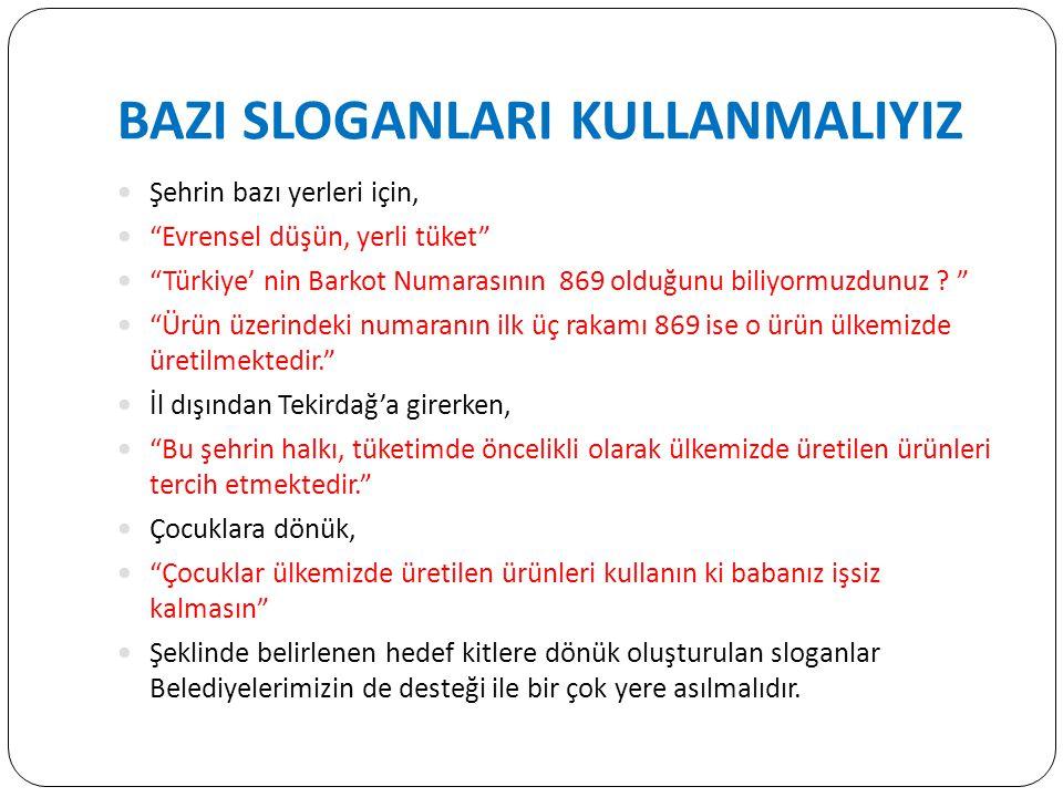 BAZI SLOGANLARI KULLANMALIYIZ Şehrin bazı yerleri için, Evrensel düşün, yerli tüket Türkiye' nin Barkot Numarasının 869 olduğunu biliyormuzdunuz .