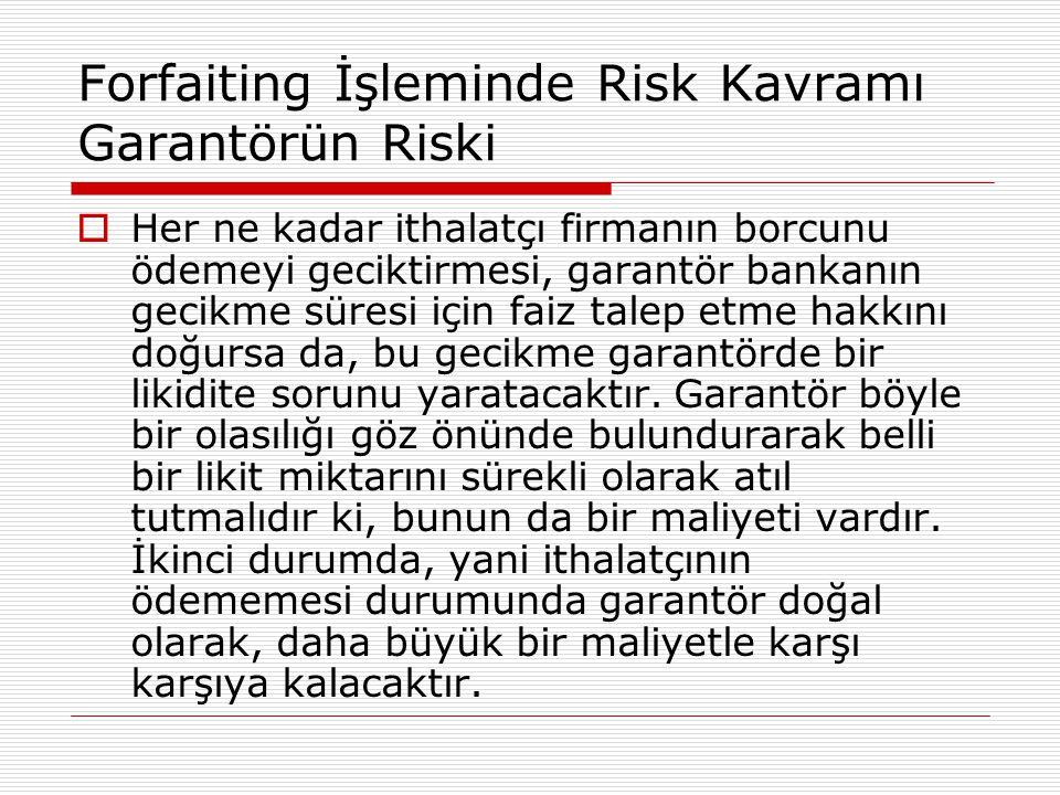 Forfaiting İşleminde Risk Kavramı Garantörün Riski  Her ne kadar ithalatçı firmanın borcunu ödemeyi geciktirmesi, garantör bankanın gecikme süresi iç