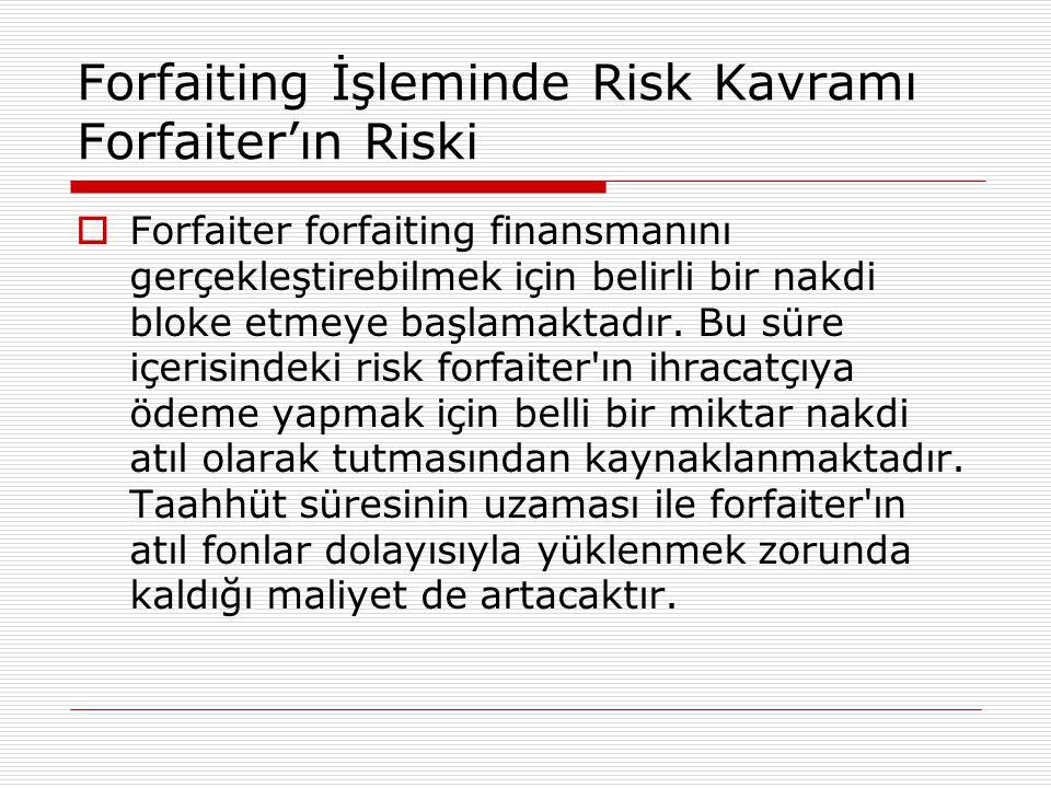Forfaiting İşleminde Risk Kavramı Forfaiter'ın Riski  Forfaiter forfaiting finansmanını gerçekleştirebilmek için belirli bir nakdi bloke etmeye başla