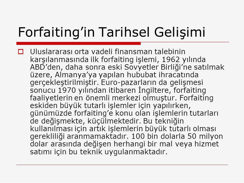 Forfaiting'in Tarihsel Gelişimi  Uluslararası orta vadeli finansman talebinin karşılanmasında ilk forfaiting işlemi, 1962 yılında ABD'den, daha sonra