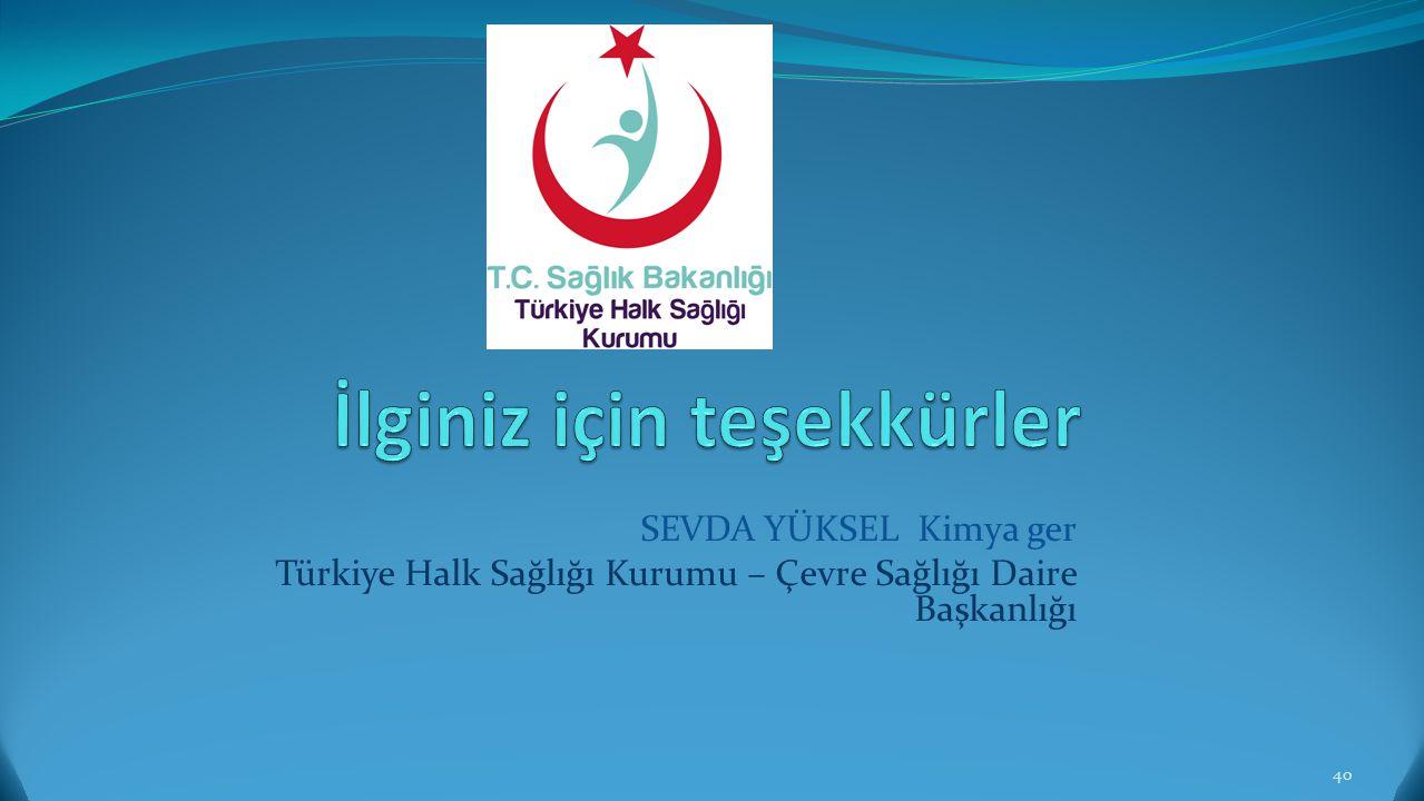 SEVDA YÜKSEL Kimya ger Türkiye Halk Sağlığı Kurumu – Çevre Sağlığı Daire Başkanlığı 40